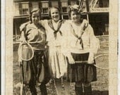 Antique Rare Early Photo of Young Women Playing Tennis at a YWCA Camp 1920