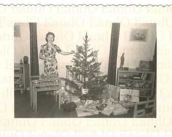 Rare 1940s Christmas Photo Woman Standing Next to Christmas Tree Fantastic Modern Furniture in Living Room