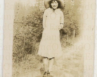 Lovely Antique Snapshot of a Woman in Straw Sunhat with Photographer's Shadow in Frame 1930s