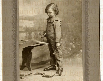 Very Rare Antique Cabinet Card Occupational Photo Little Boy in Carpenter Outfit with Hammer, Saw, Drill, and Right Angle 1900s