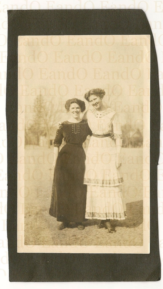 Antique Early Snapshot of 2 Edwardian Women in their Beautiful Dresses 1910s
