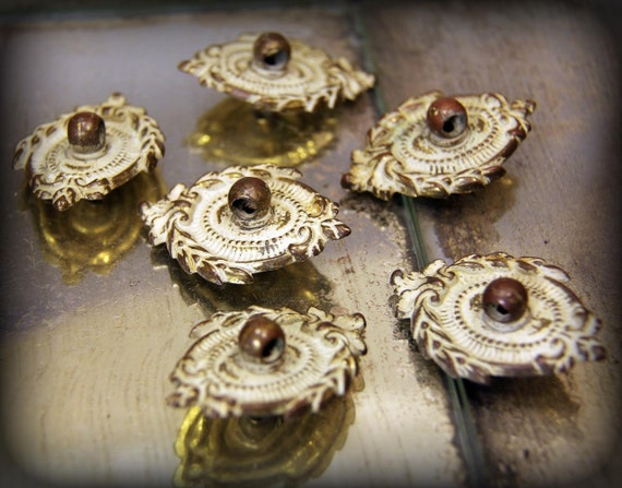 Fantastic Find - Elegant, Beautiful Antique Painted Brass Drawer Pull Bases, Plaques Lot of 6