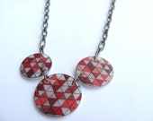 "geometric shrink plastic necklace red pink burgundy ""love squared"" with 3 circles"