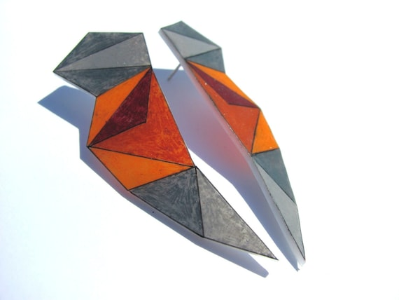 "geometric shrink plastic earrings, triangle, angle, ""lightning bolt"" earrings in orange, grey, black"