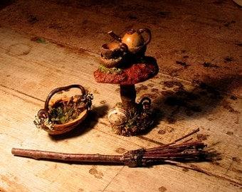 Fae Mushroom Tea Table, Broom and Basket