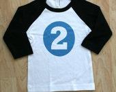 2nd birthday tshirt - BLUE - size 2T