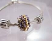 Metallic Roseberry Charm Bead - Pandora Style