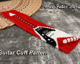 Rock and Roll // Guitar Cuff // Pattern // V Guitar // Peyote Stitch