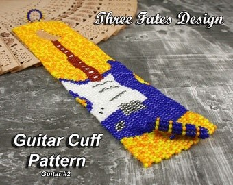 Guitar Cuff Pattern // Beaded // Blue
