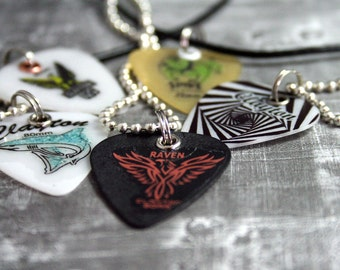 Guitar Pick Necklace, Animals, Leather, Ball Chain, Music Lover