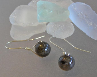 Labradorite Earrings on Hand-Forged Sterling Silver Earwires, Green Gray Earrings, Gift for Her, Simple, Classic, Easy to Wear Earrings