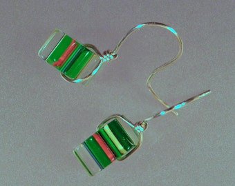 Furnace Glass Earrings, Green and Red Glass, Spinning Earrings, Colorful Fun Jewelry, Contemporary Earrings