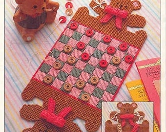 Bear Checkerboard ~  plastic canvas pattern
