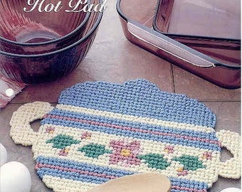 Casserole Hot Pad  ~   plastic canvas pattern
