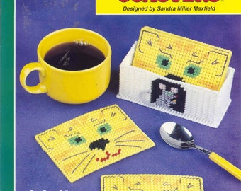 Kitty Face Coasters ~ plastic canvas pattern  ~  CAT
