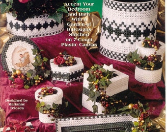 A Touch of Ivy Home Decor ~  plastic canvas book    BED and  BATH