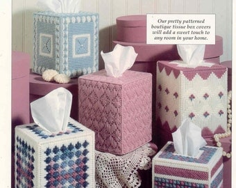 Pretty Patterns Tissue Covers  ~  plastic canvas pattern