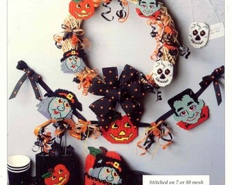 Frightful Fellows ~  plastic canvas pattern ~   Halloween pattern