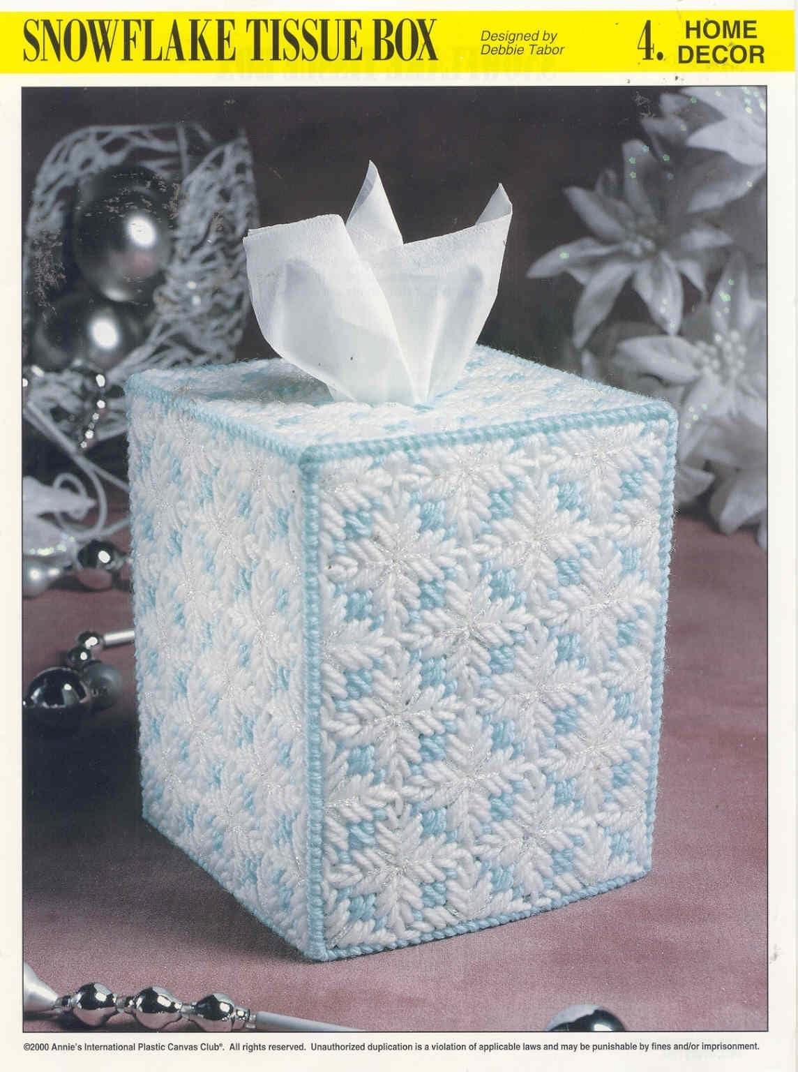 Snowflake Tissue Box Plastic Canvas Pattern New