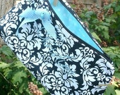 RESERVED for Marianne, Cosmetic clutch, Makeup Bag, Bridesmaids Gifts, Monogram Included, Custom Fabric Choices