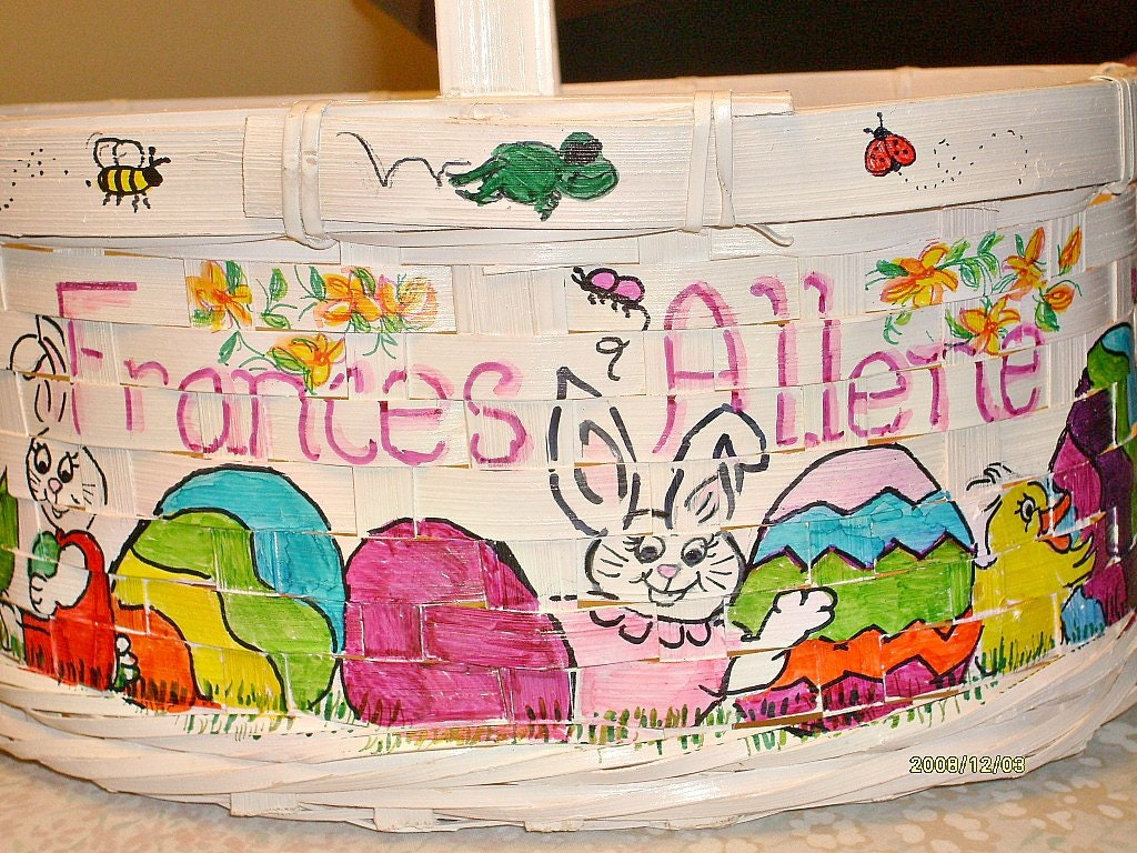 Hand Painted Easter Basket OOAK Custom by ChamberryCherry on Etsy