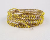 Neon Dandelion Yellow Crochet beaded infinity cuff or necklace with Silver Beads, Lemon Zest, Extra Long, Summer Jewelry
