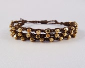 Beaded Crochet Friendship bracelet, triple strand, gold plated brass beads on chocolate brown cord