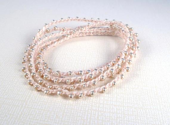 Crochet beaded bracelet, multi wrap, Boho Chic, Baby Pink pastel