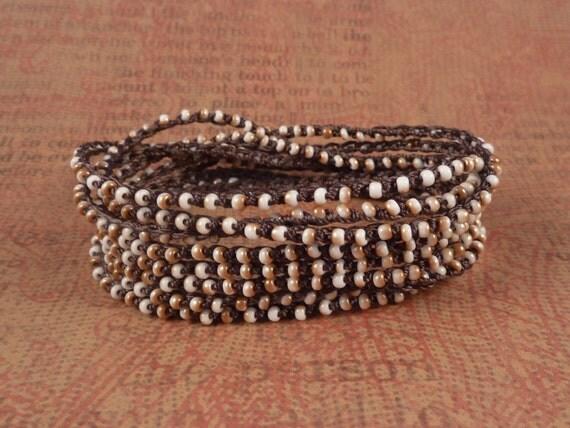 Boho Chic, As Seen in Etsy Finds, Extra Long Crochet Beaded bracelet, necklace, headband, Cafe Latte Love