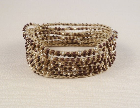 Crochet Beaded wrap bracelet, necklace, headband, extra long, burgundy and silver seed beads