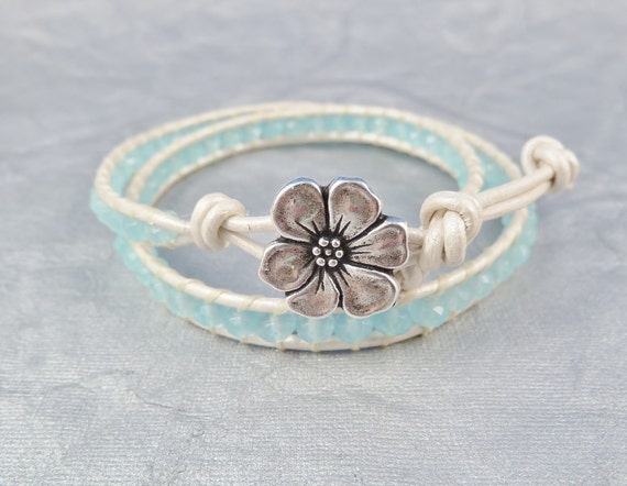 Mother's Day Leather Wrap bracelet, Chalcedony gemstones and metallic white Greek leather