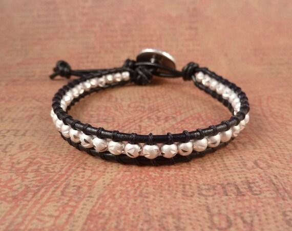 Sterling Silver Beaded Leather Wrap bracelet, black leather with etched sterling silver beads