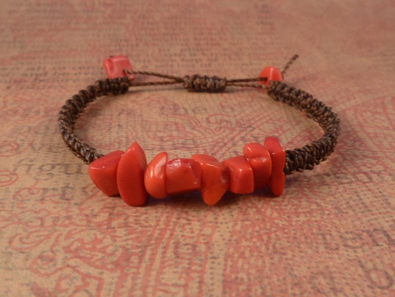 Red Coral macrame stacking bracelet, hand knotted brown waxed cord, red coral chips