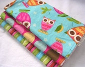 Baby Girl Burp Cloth Gift Set - On A Whim Owls on Aqua - Boutique Burp Pad Set with Terry Cloth backing