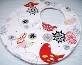 Boutique Bib - Starling on White - Cotton bib with pink terry cloth backing and snagfree velcro closure