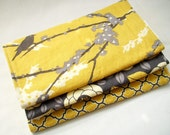 Burp Cloth Gift Set for Baby Boy or Girl - Aviary II Vintage Yellow and Granite - great baby shower gift