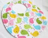 Baby Girl Bib - Birds in Spring - cotton bib with terry cloth backing