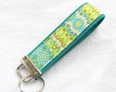 Wristlet Key Fob Key Chain - California Dreamin' Catalina in Blue - Fabric Keychain on teal or celadon webbing