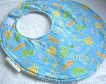 Dinos - Oh Boy - Boutique Baby Boy Bib w snag free velcro and terry backing