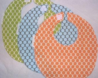 Bib Trio - Boutique Bib Set - Amy Butler Full Moon Polka Dot in Slate, Lime and Tangerine
