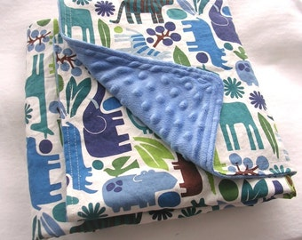 Super Snuggly Blanket - 2D Zoo in Blue with minky dot backing - Great nap and stroller blanket