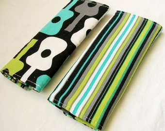Reversible Car Seat Strap Covers - Groovy Guitar in Lagoon
