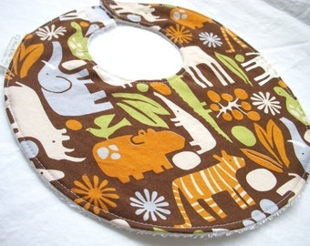 2D Zoo in Chocolate - Boutique Bib - terry cloth backing with snag-free Velcro closure