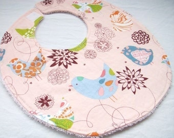 Baby Girl Bib - Starling in Pink - Cotton bib with pink terry cloth backing and snagfree velcro closure