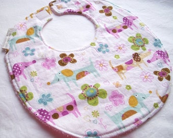 Baby Girl or Toddler Girl Bib - Pretty Little Puppies - Boutique Bib with terry cloth backing