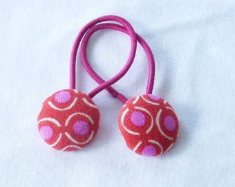 Raspberry Sorbet - Ponytail holders - fabric covered button hair ties