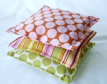 Lovely Lavendar Sachets - Set of 3 -  Amy Butler Lotus Dots in Lime and Camel with Oxford Stripe