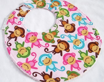 Baby Girl Bib - Monkeys in Spring  - Cotton bib with pink terry cloth backing and snagfree velcro closure