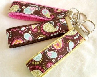 Keyfob Wristlet Keychain - Paisley Floral - Colorful Floral Paisely Print Key fob with Pink, Brown or Celadon Webbing