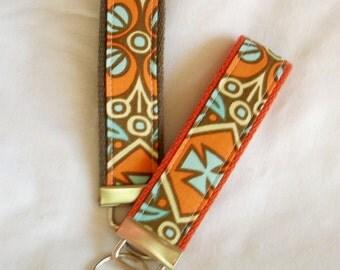 KeyFob Key Chain Wristlet in Amy Butler Kashmir in Olive  - Keychain in Belle fabric You choose webbing color